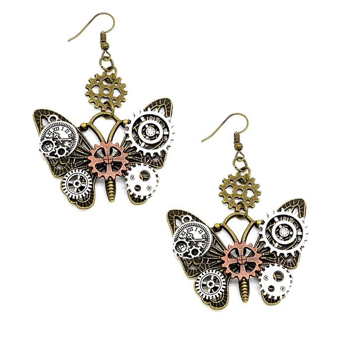 Antiqued Gold Butterfly Steampunk Drop Earrings