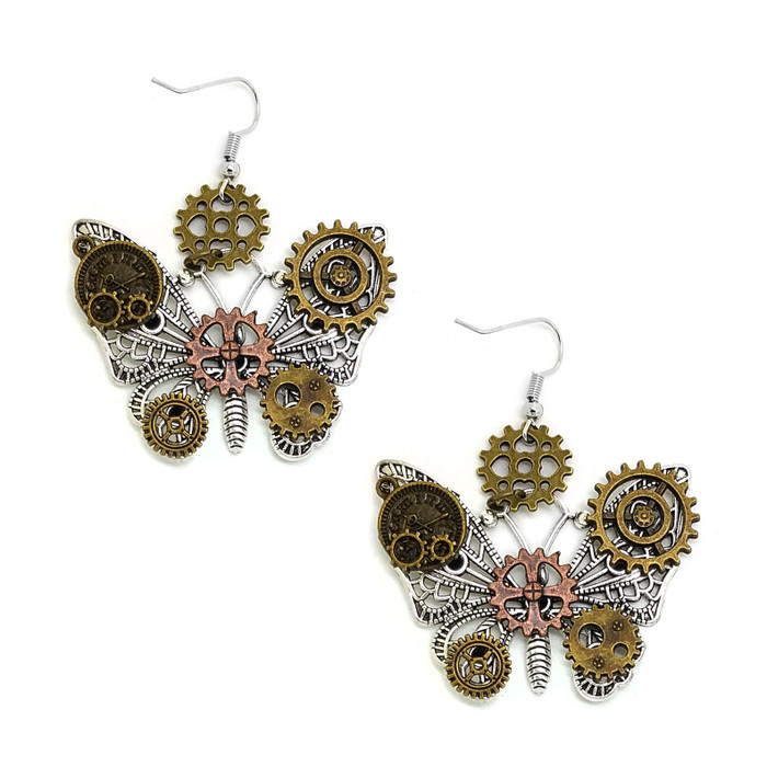 Antiqued Silver Butterfly Steampunk Drop Earrings