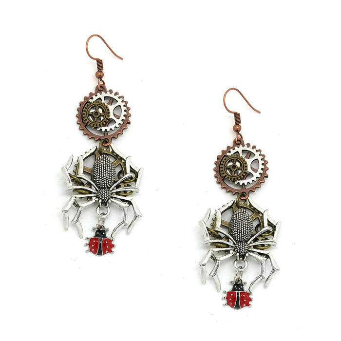 Steampunk Spider and Ladybug Drop Earrings