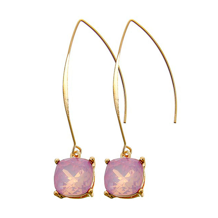 Gold and Pink Cushion-Cut Solitaire Crystal Long-Hook Drop Earrings