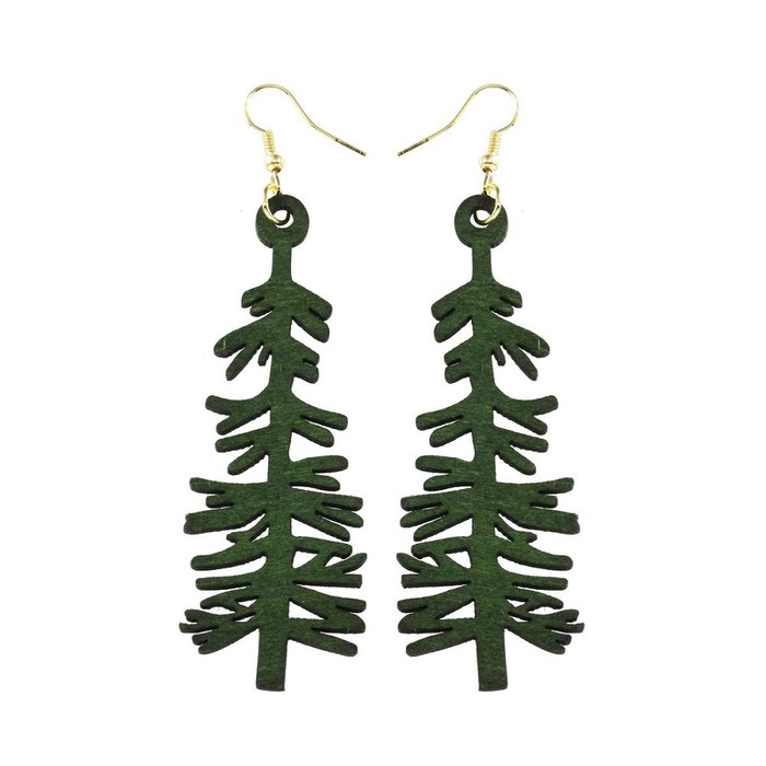 Large Lightweight Green Redwood Tree Drop Earrings