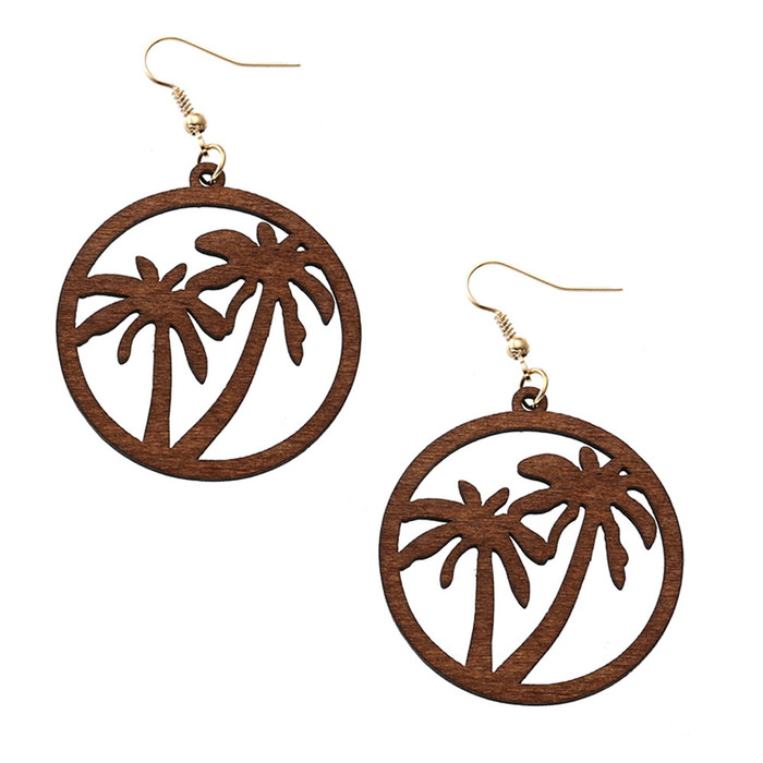 Lightweight Brown Wood Double Palm Tree Circle Drop Earrings