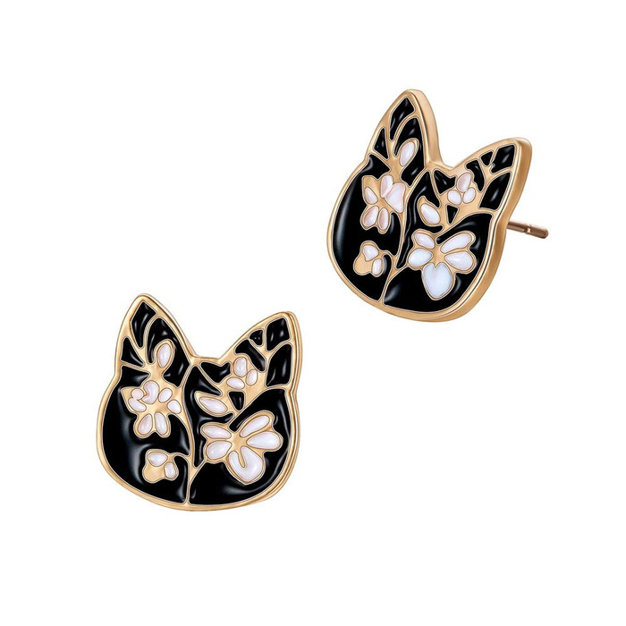 Black and White Enameled Golden Kitty Post Earrings