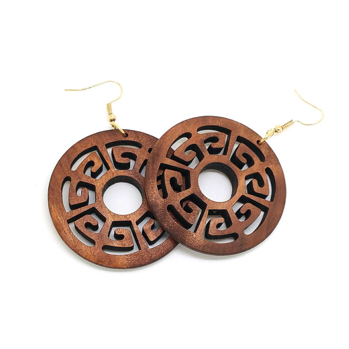 Lightweight Brown Wood Asian-Deco Circle Drop Earrings