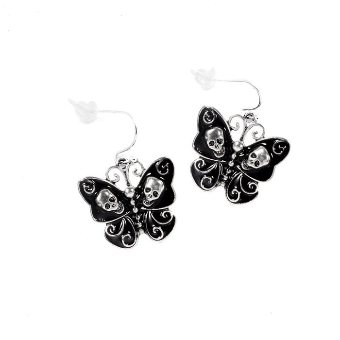 Black and Silver Skull and Swirl Butterfly Fishhook Drop Earrings
