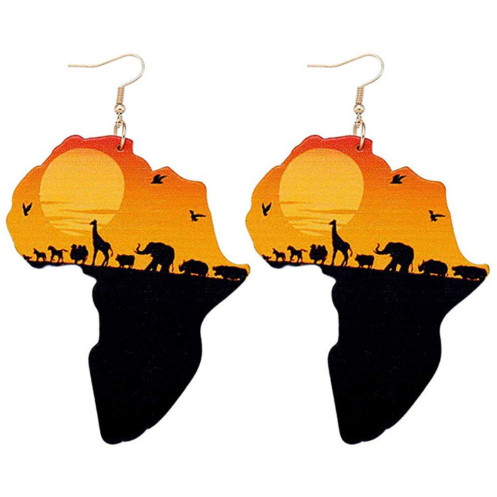 Large Lightweight African Safari Drop Earrings