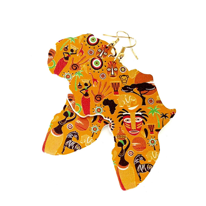 Large Lightweight African Motif Drop Earrings