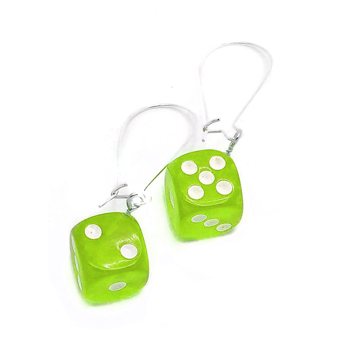 Neon Green Translucent 6-sided Dice Drop Earrings