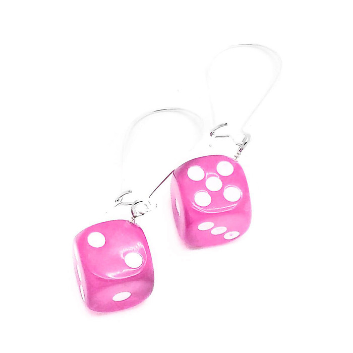 Pink Translucent 6-sided Dice Drop Earrings