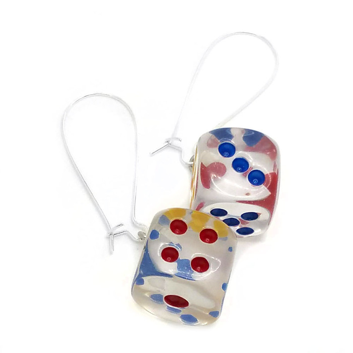 Clear 6-sided Dice Drop Earrings with Multicolored Dots