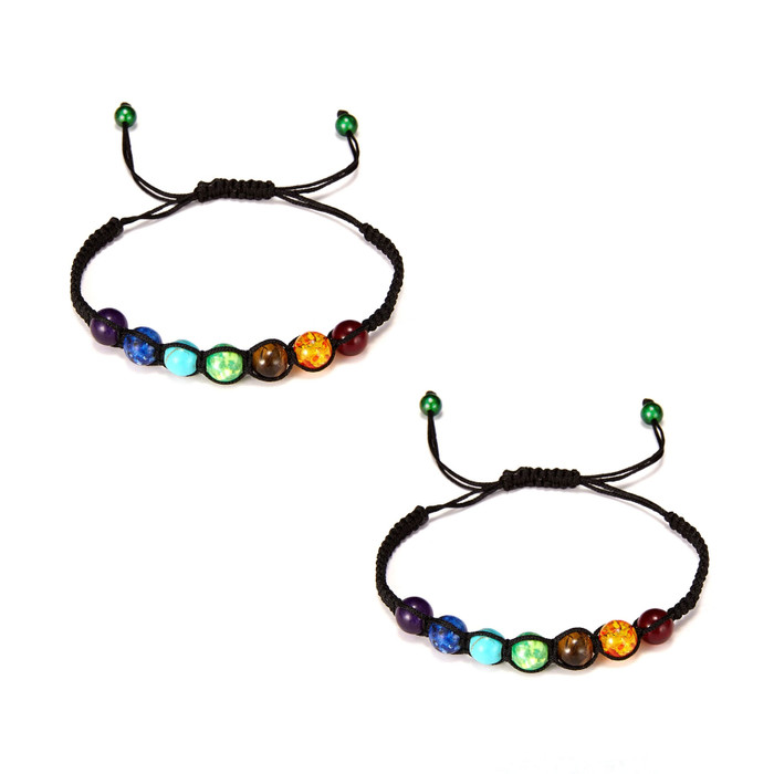 Rainbow Stone Friendship Bracelets, Fully Adjustable [Pack of 2]