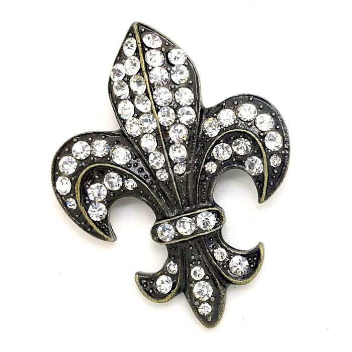 Bejeweled Bronze Fleur-de-Lis Pin