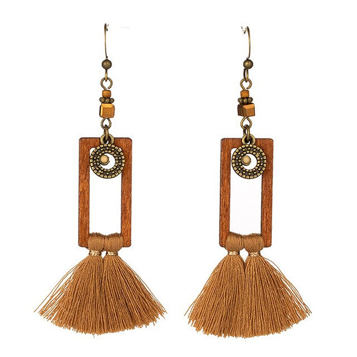 Long Lightweight Brown Wood and Tassel Drop Earrings