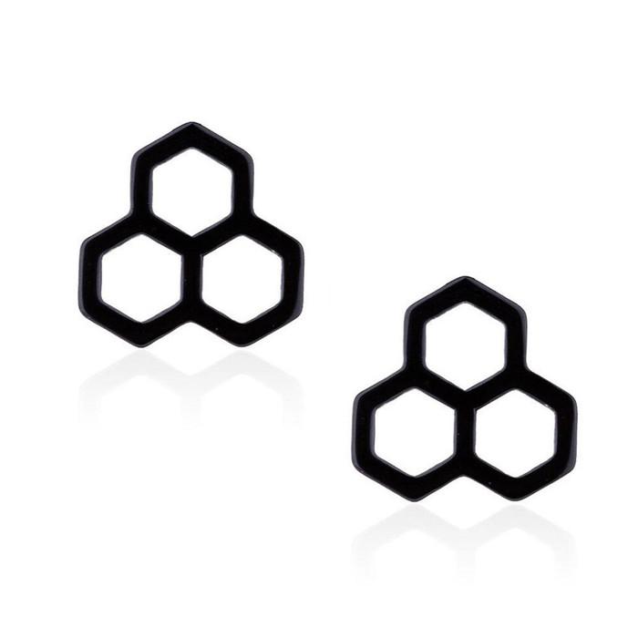 Tiny Black Honeycomb Post Earrings