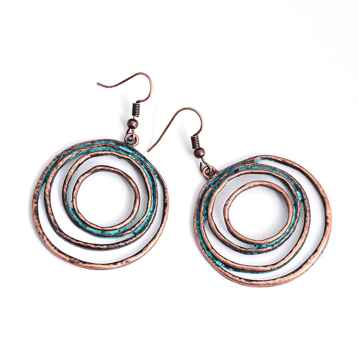 Patina Circles Drop Earrings