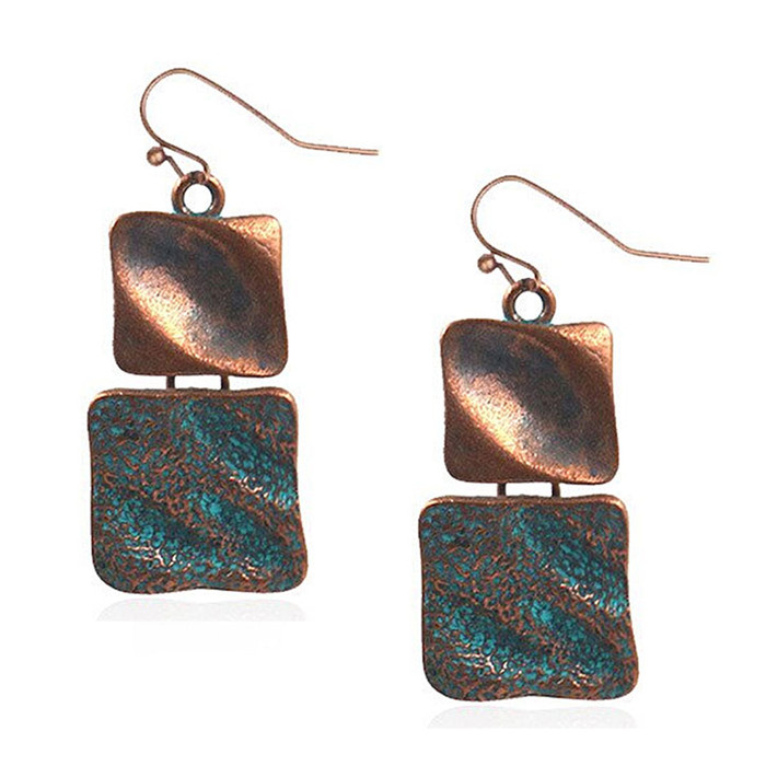 Patina Squares Drop Earrings