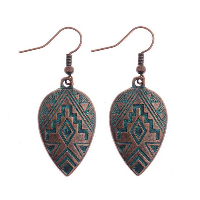 Embossed Patina Teardrop Earrings