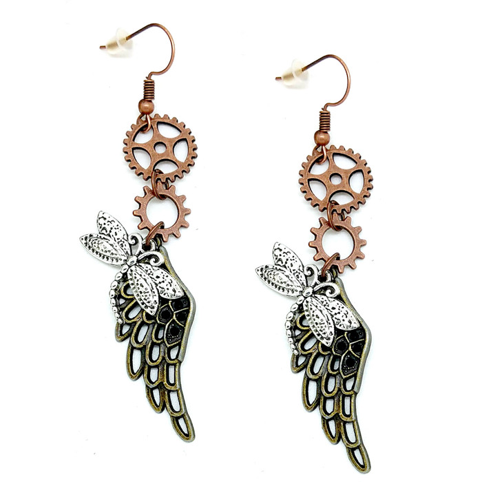 Mix-Tone Steampunk Angel Wing and Dragonfly Drop Earrings