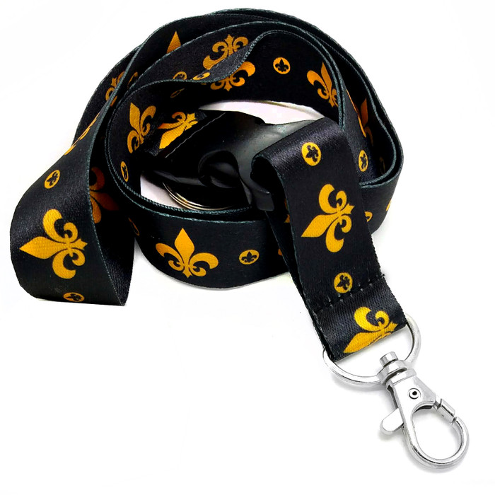 Gold & Black Fleur-de-Lis Fabric Lanyard Necklace with 2 ID/Badge/Card Holders