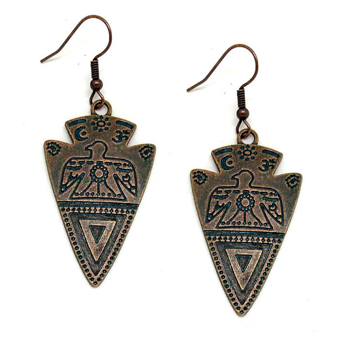 Copper Patina Engraved Arrowhead Drop Earrings