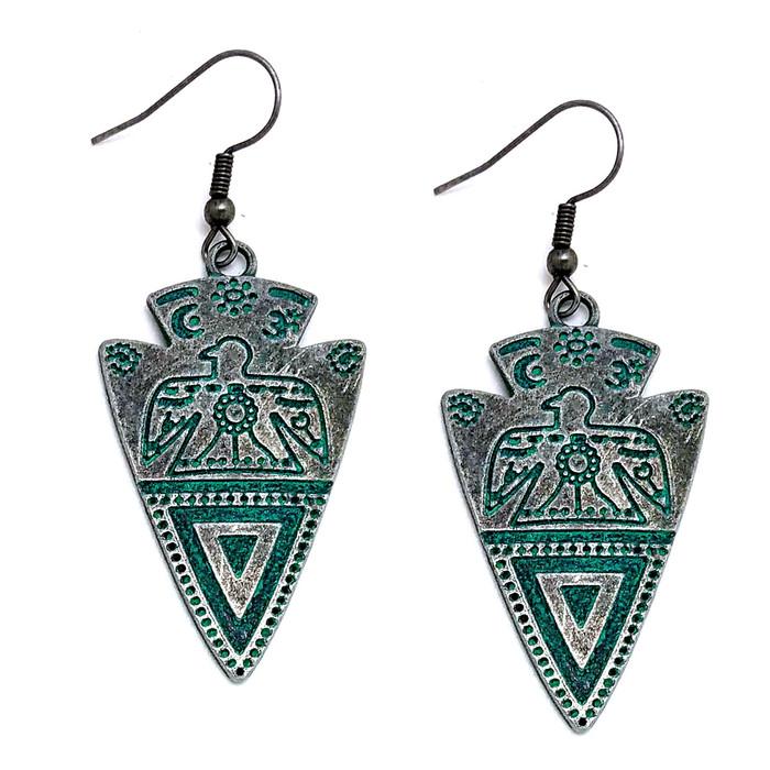 Antiqued Silver Patina Engraved Arrowhead Drop Earrings