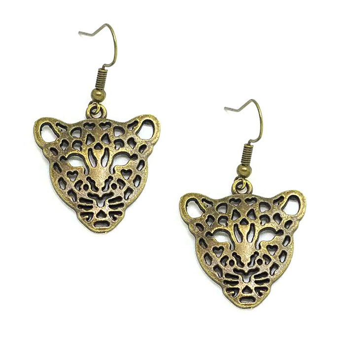 Antiqued Gold Leopard Drop Earrings