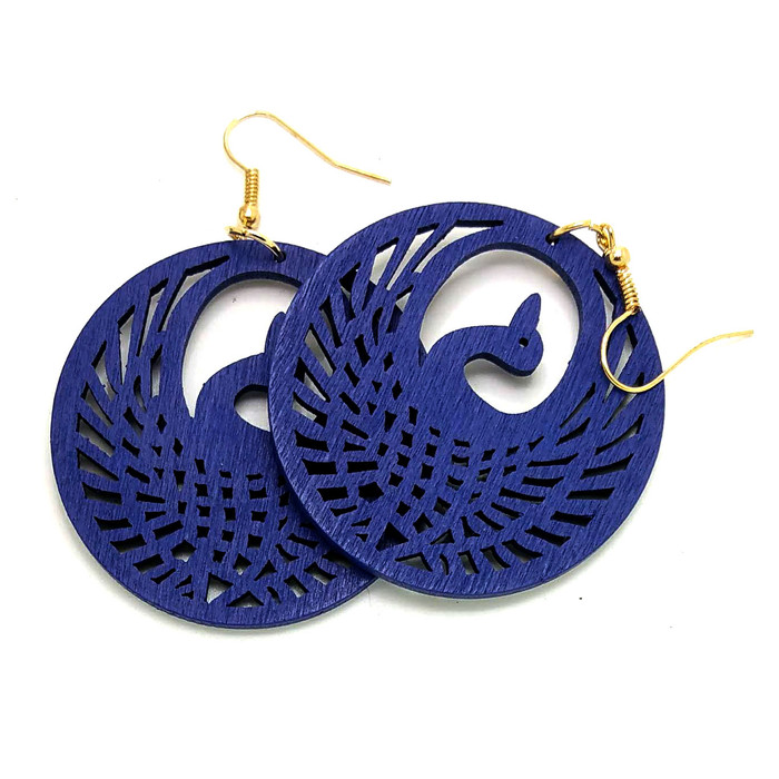 Lightweight Blue Wood Phoenix Circle Drop Earrings