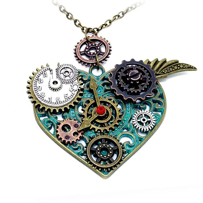 Patina Mixed-tone Steampunk Heart Pendant Necklace