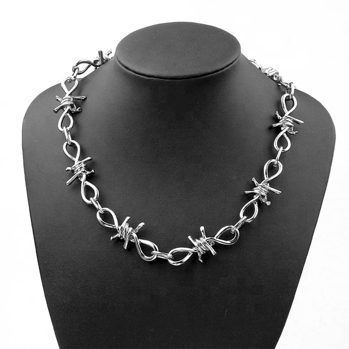 Silver Barbed Wire Choker Necklace