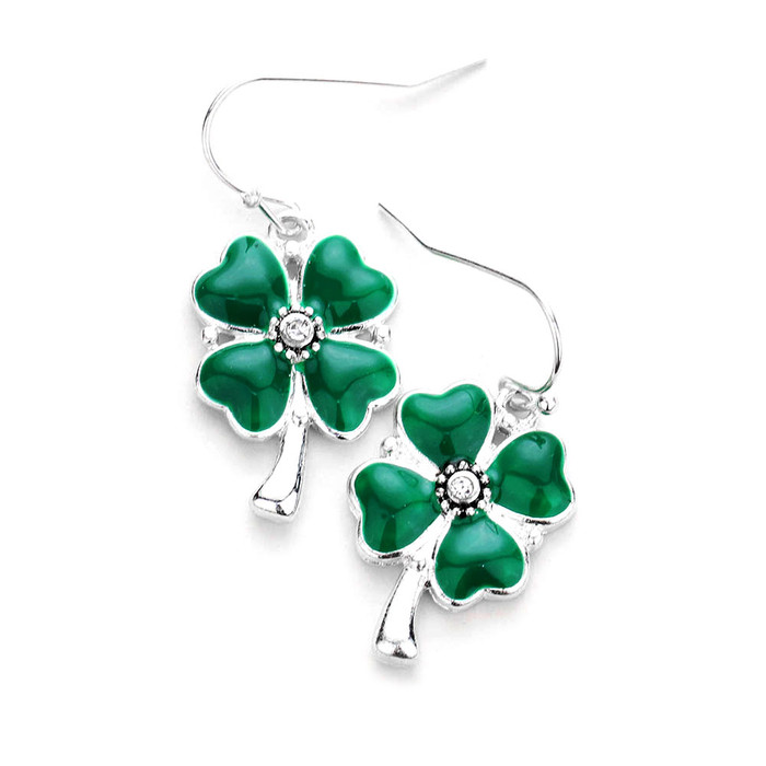 Silver and Green Shamrock/Clover Drop Earrings with Crystal Detail