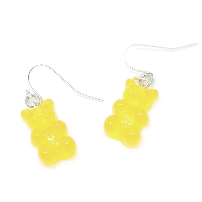 Yellow Translucent Gummi Bear Drop Earrings