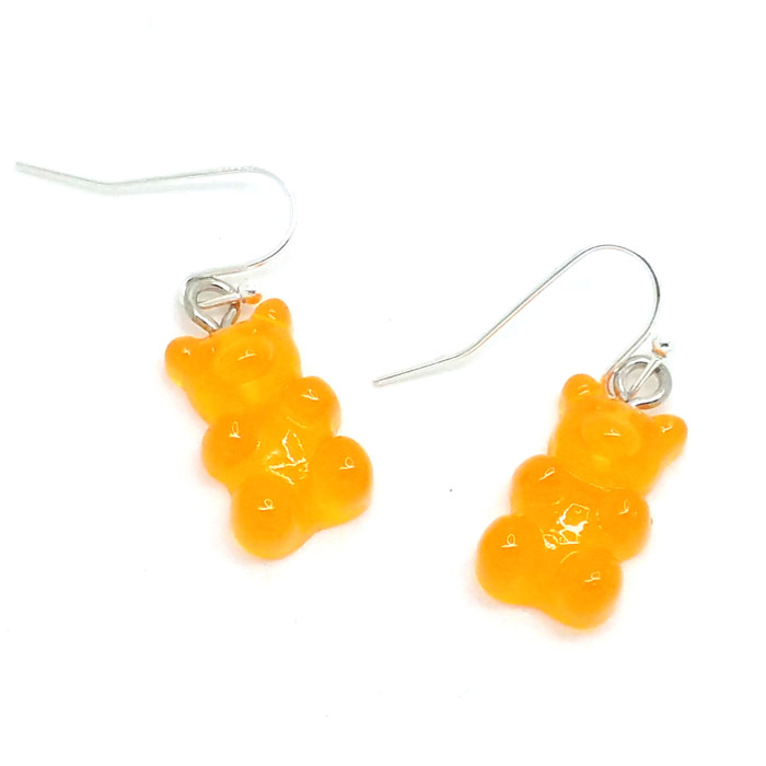 Orange Translucent Gummi Bear Drop Earrings