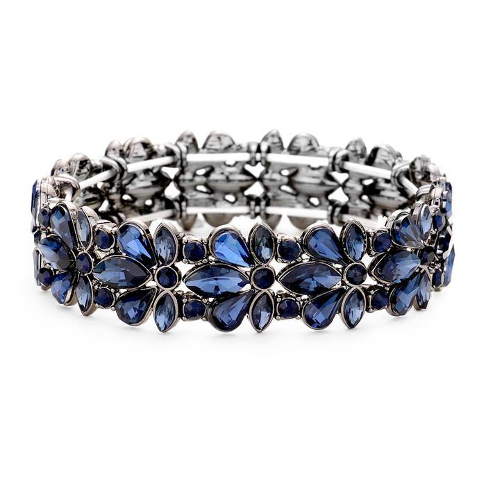 Gunmetal and Navy Blue Floral Crystal Bracelet