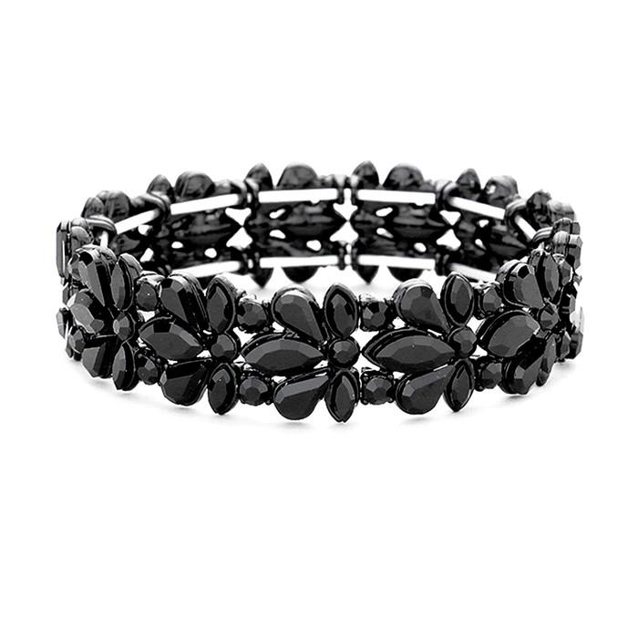 Black-On-Black Floral Crystal Bracelet