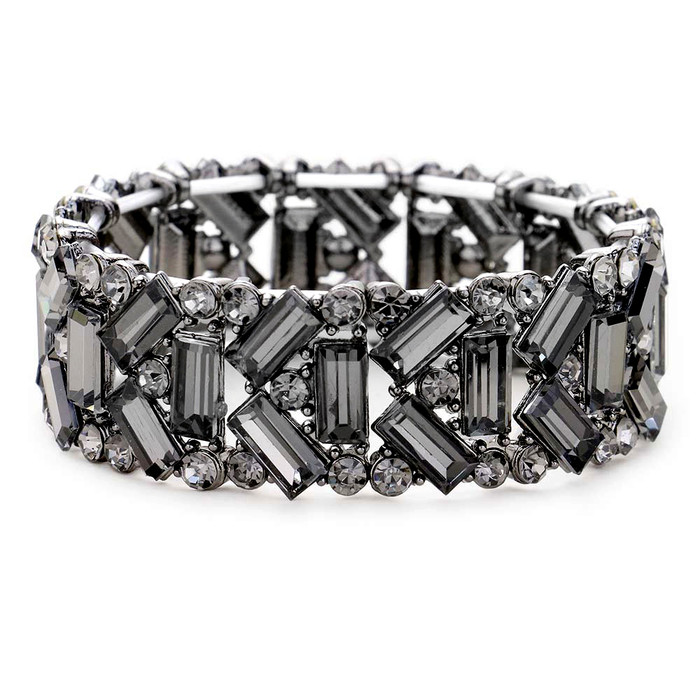 Stunning Art Deco Gunmetal and Smoky Crystal Bracelet