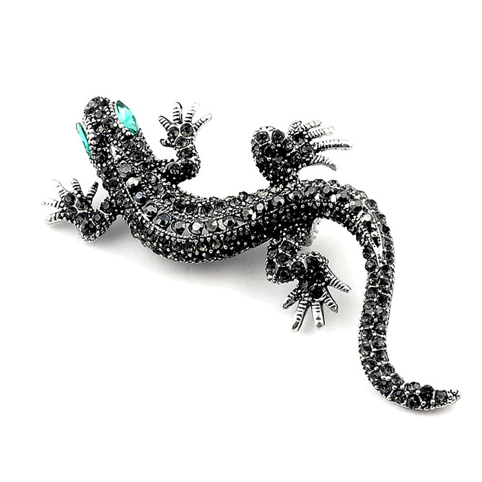 Gunmetal & Black Bejeweled Gecko Pin