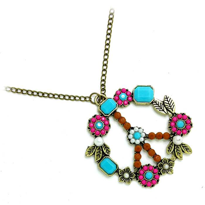 Antiqued Gold Peace Sign Necklace with Pink & Aqua Stones