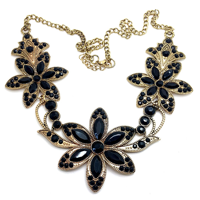 Antiqued Gold and Jet Black Crystal Floral Necklace