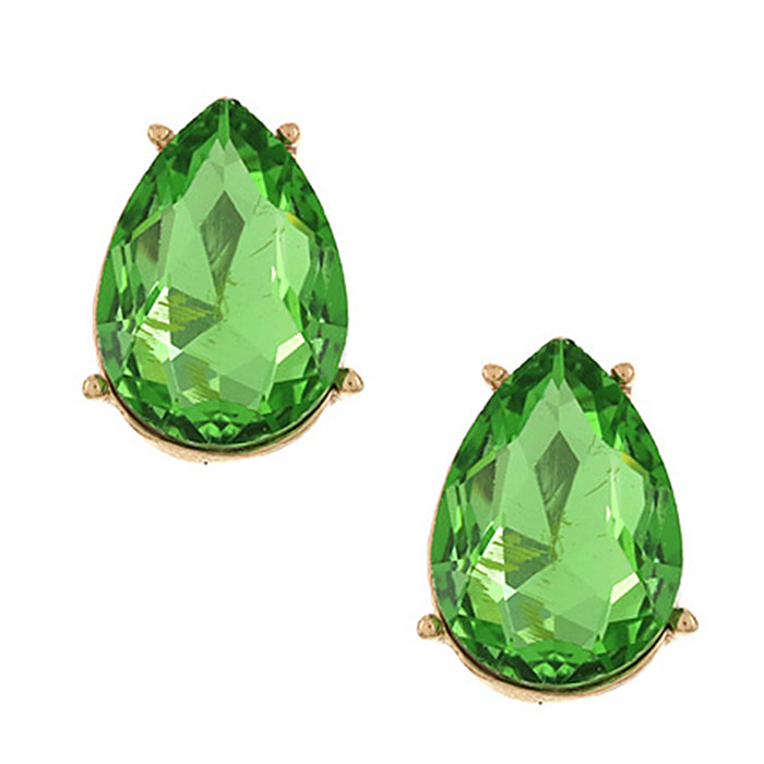 Spring Green Teardrop Crystal Solitaire Post Earrings