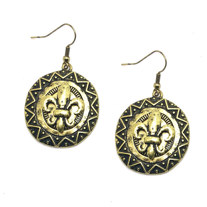 Antiqued Gold Fleur-de-Lis Circle Drop Earrings