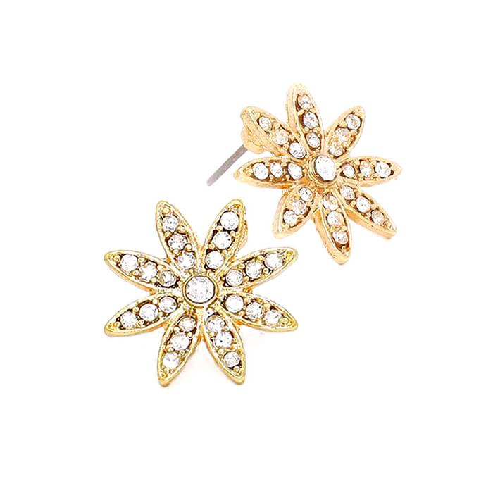 Bejeweled Golden Star/Snowflake/Flower Post Earrings