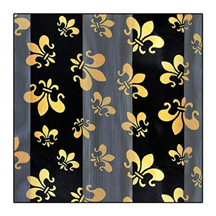 """Gold Fleur-de-Lis on Black"" Silk-Feel Lightweight Long Scarf"