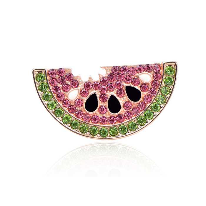 Bejeweled and Enameled Watermelon Slice Pin