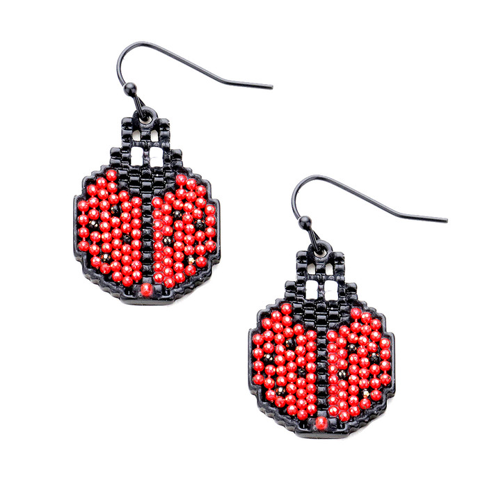 Black and Red Seed Bead Ladybug Drop Earrings