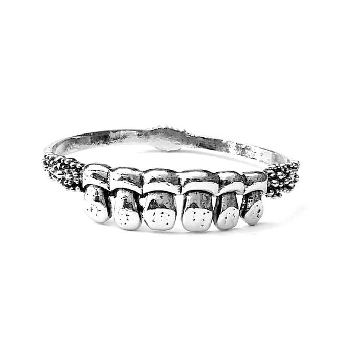 Antiqued Silver Teeth Bangle