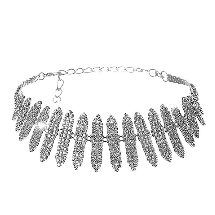 Silver Crystal Slat Choker Necklace