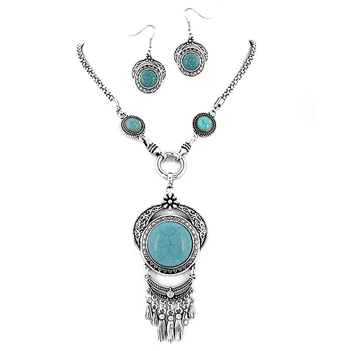 Antiqued Silver & Turquoise Cabochon and Fringe Necklace & Drop Earring Set