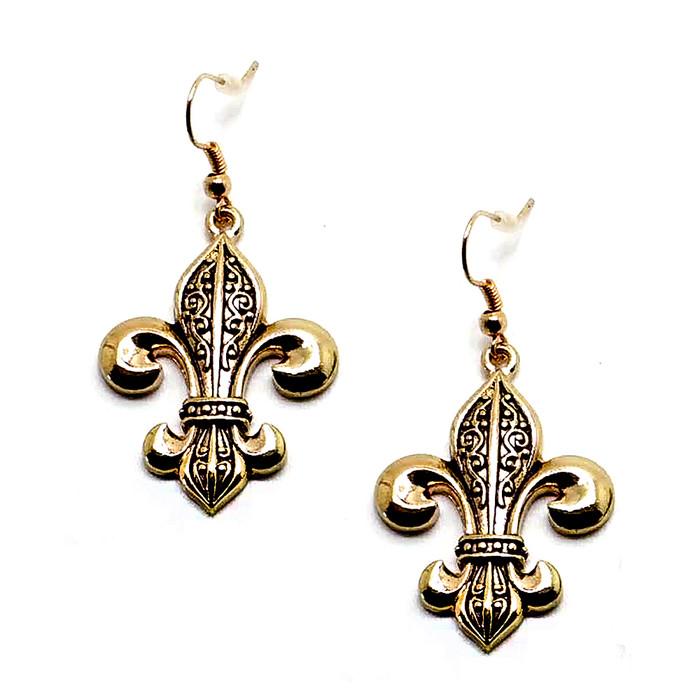 Golden Fleur-de-Lis Drop Earrings