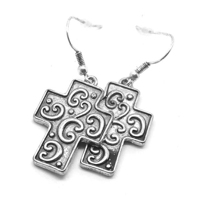 Antiqued Silver Cross Drop Earrings