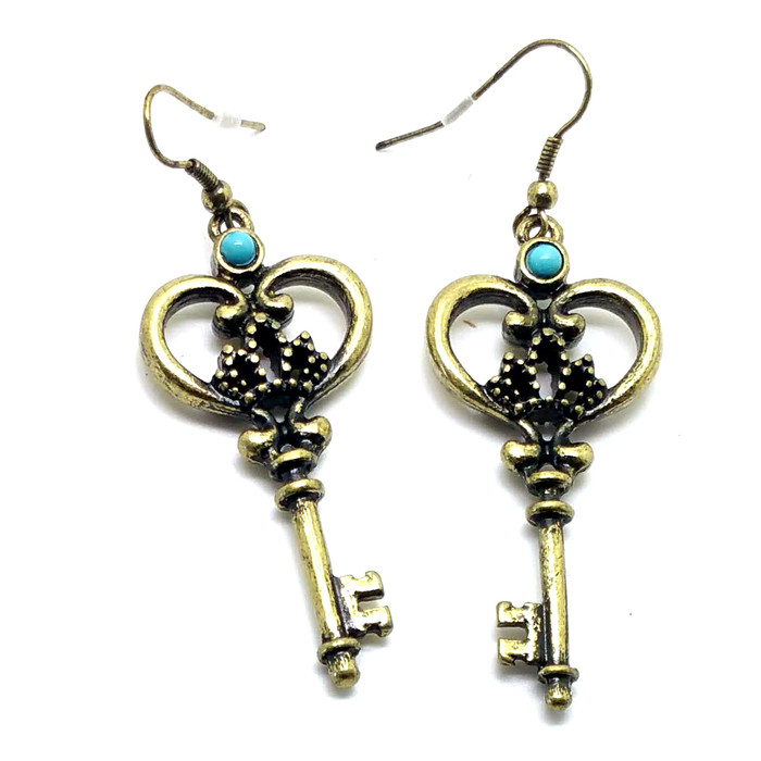 Antiqued Gold Key Drop Earrings with Turquoise Detail